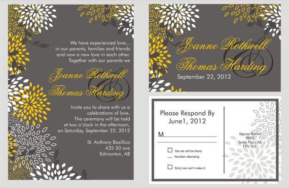 Wedding Invitation With Matching Rsvp Sample By Bydesignweddings 3 00 Wedding Invitations Yellow Wedding Invitations Invitations