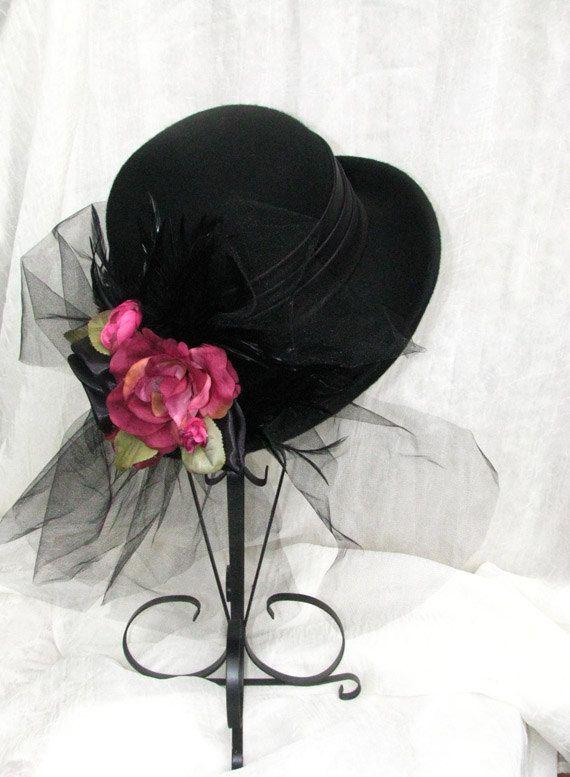 Vintage Style Victorian Black Hat Ladies Hat Womens Tea Party Etsy Tea Hats Tea Party Hats Hats Vintage