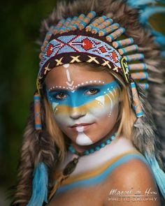 """My lovely nice. """"American Native"""" ❤️ Airbrush and pencil & brush Facepainting and styling by me. www.martistic.eu  Photography by Marcel de Hoog photography."""