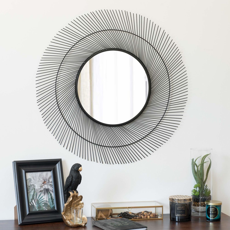 Miroir filaire en métal noir mat d72 sur maisons du monde piochez parmi nos meubles et objets déco et faites le plein dinspiration