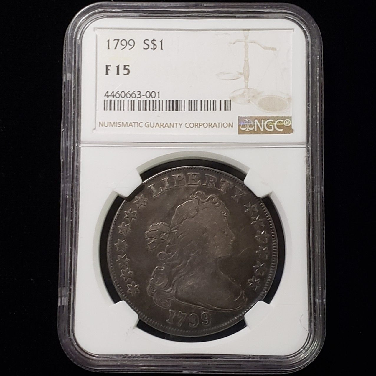 1799 Draped Bust Silver Dollar 1 Certified Ngc F 15 Silver