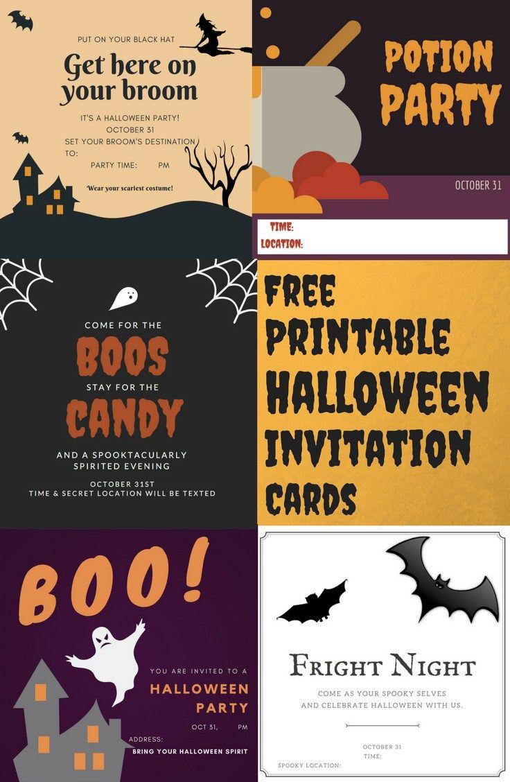 free printable halloween invitation cards | halloween | pinterest