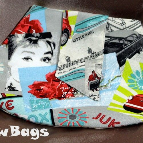 With #fifties inspired images of #ClassicCars and #AudreyHepburn this linen #ClutchBag has #vintage style.