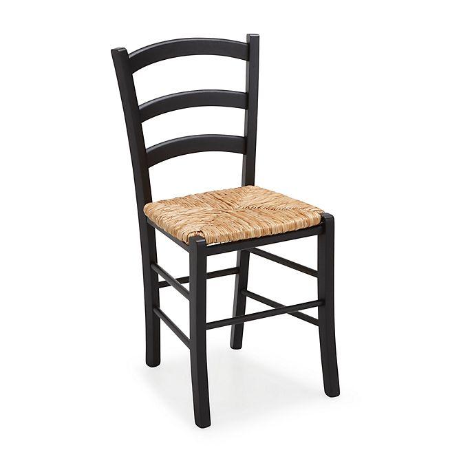 Yvonne Chaise Noire Avec Assise Paille Chaises Bois Chaise Paille Chaises En Bois Peintes