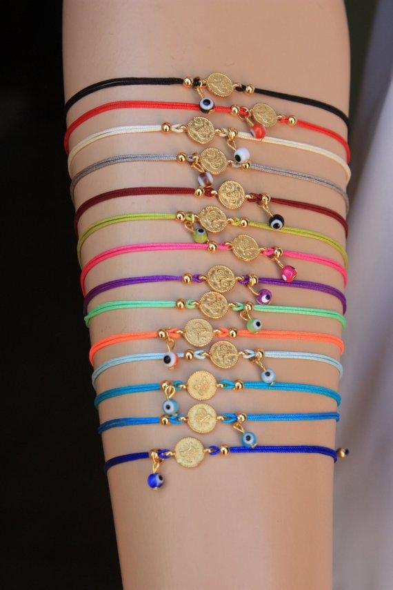 Coin Evil Eye Adjustable Bracelets Friendship Bracelets