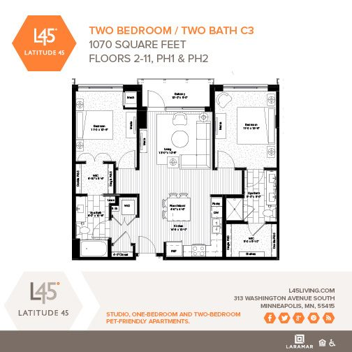 1 Bedroom Apartments Minneapolis: Two Bedroom/Two Bath C3