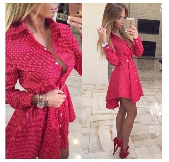 87cbba3e15f9 Women Shirt Dress Small Dots Printed Fashion Irregular Long Sleeve Mini  Dress