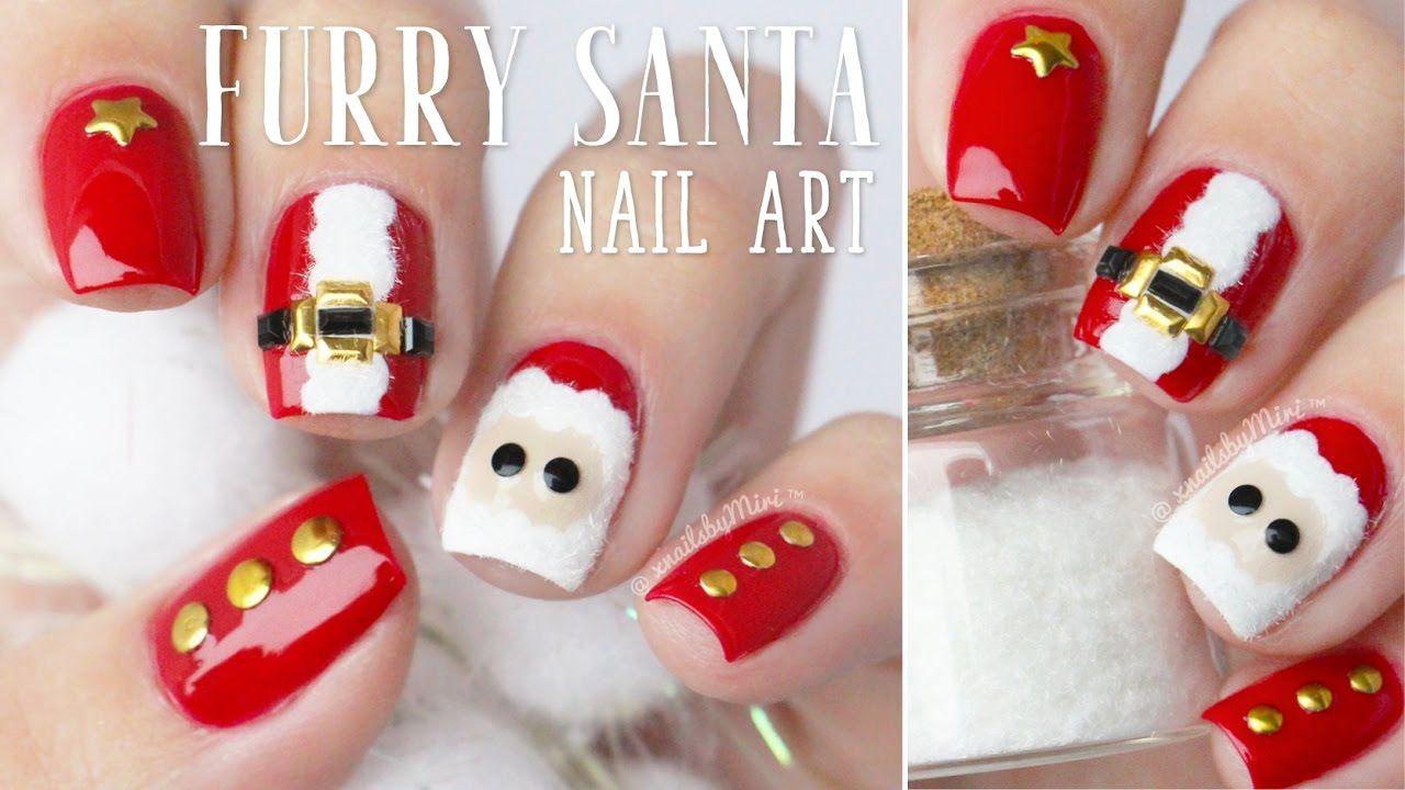 Furry Santa Claus Nail Art Using Flocking Powder Christmas