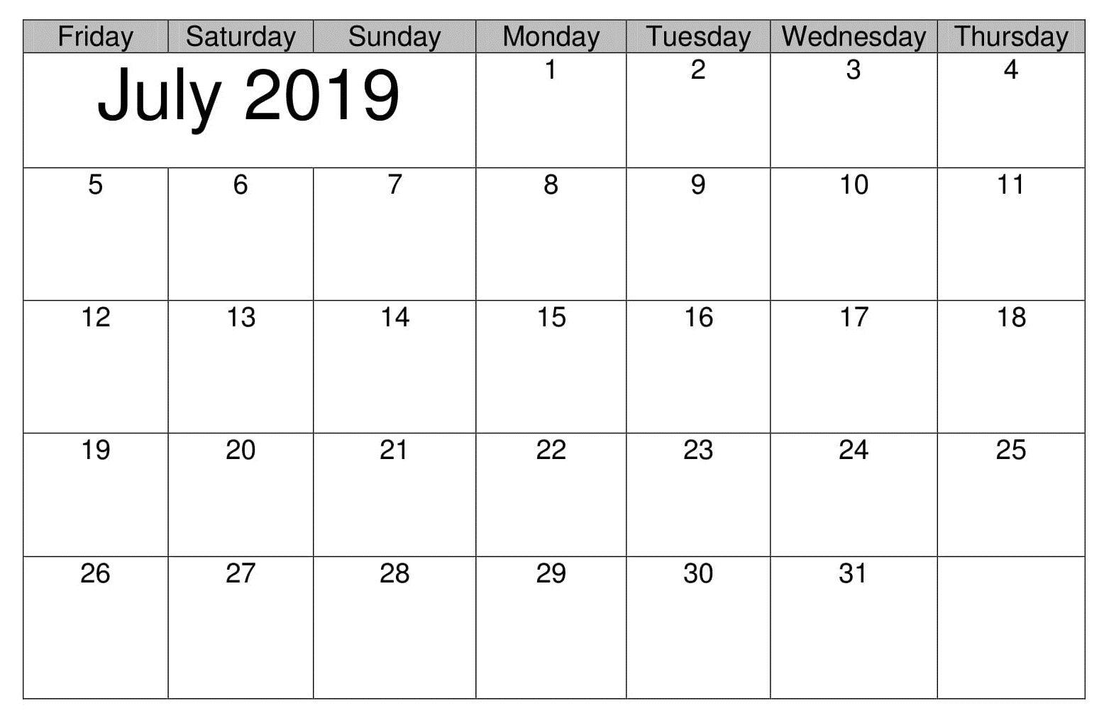 photograph regarding Calendar July Printable identify July Printable Desk 2019 Calendar Calendar July 2019