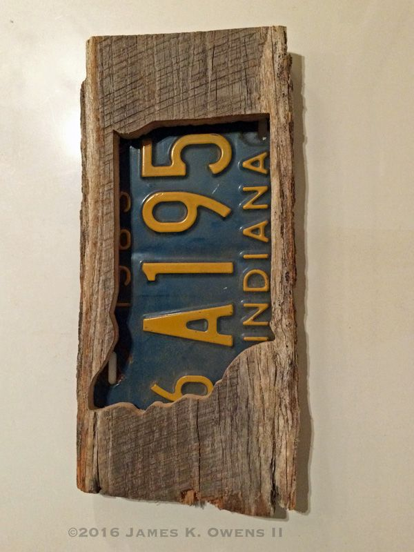 Indiana license plate shadow box made with 100 year old for Old barn wood craft projects