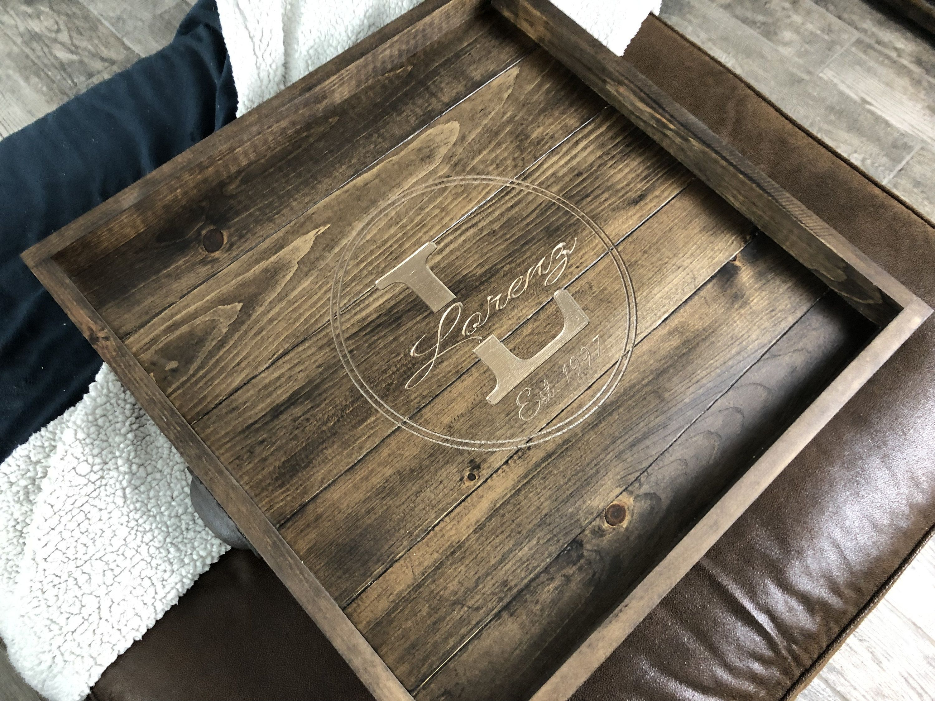 Custom Engraved Ottoman Tray Wooden Serving Tray Monogrammed Etsy Ottoman Tray Wooden Serving Trays Coffee Table Tray [ 2250 x 3000 Pixel ]