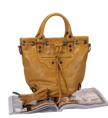 Fashion Stylish Rivet Bucket Tote Bag Yellow on BuyTrends.com, only price $19.59