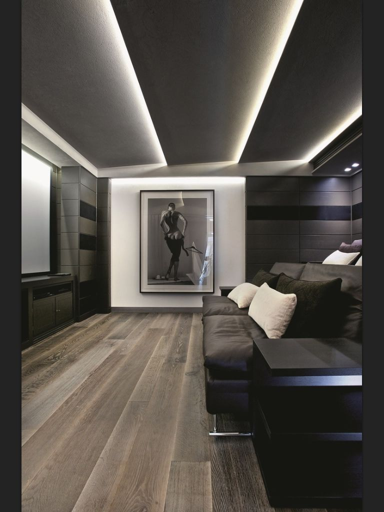 Modern-Bertie Room Ceiling wih LED strip Lights | interior ...