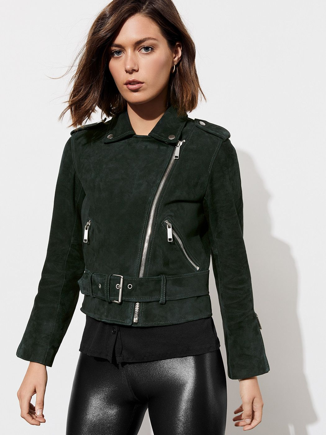 Ana Suede Biker Jacket in Hunters Green Jackets for