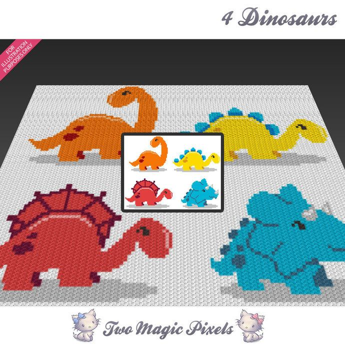 Four Dinosaurs c2c graph crochet pattern; instant PDF download; baby ...