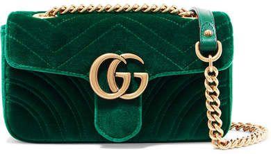 015c4ae673e4d Gucci - Gg Marmont Mini Velvet And Leather Shoulder Bag - Emerald  gucci