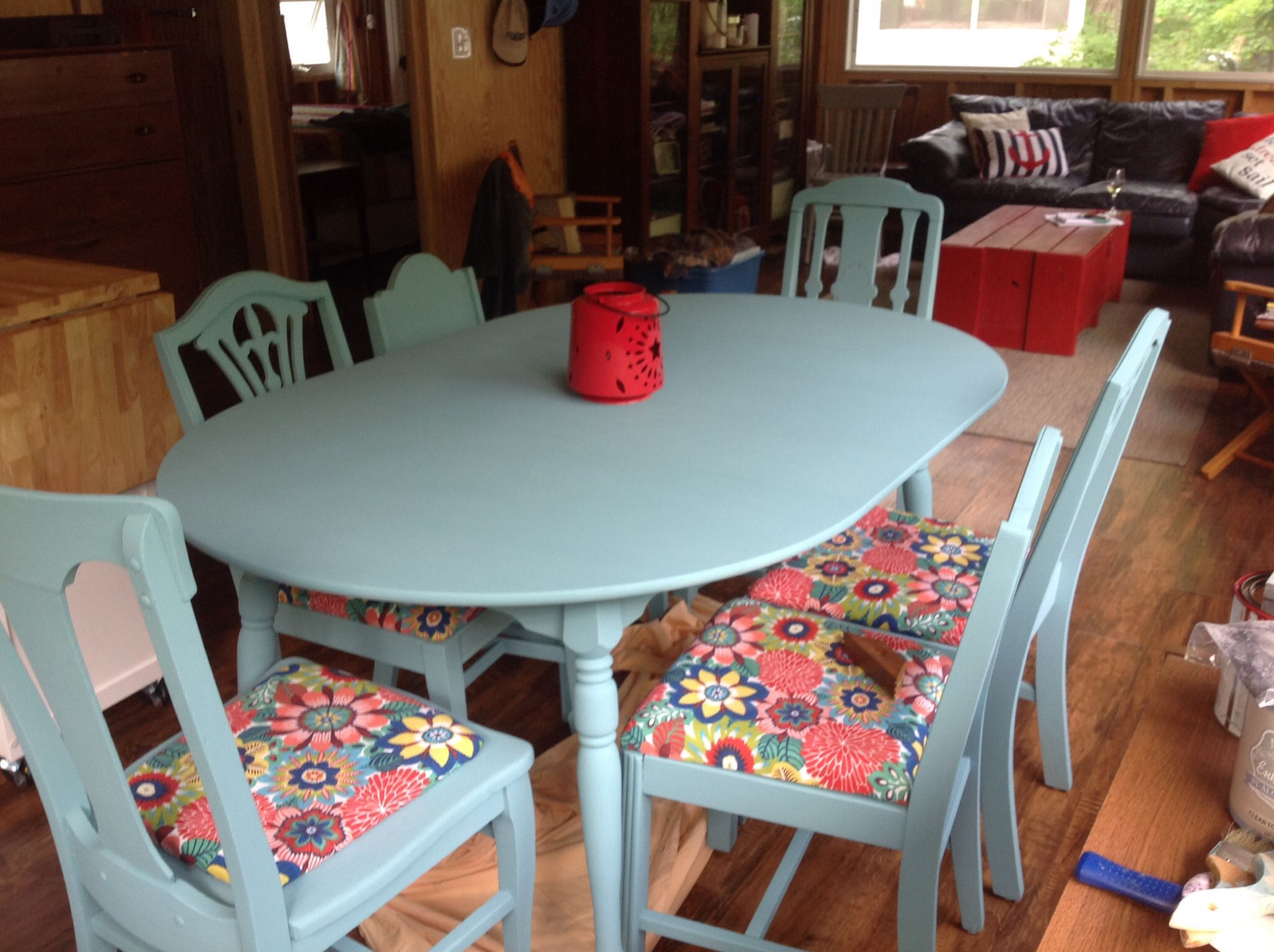 This was an old maple table with a variety of old chairs collected ...