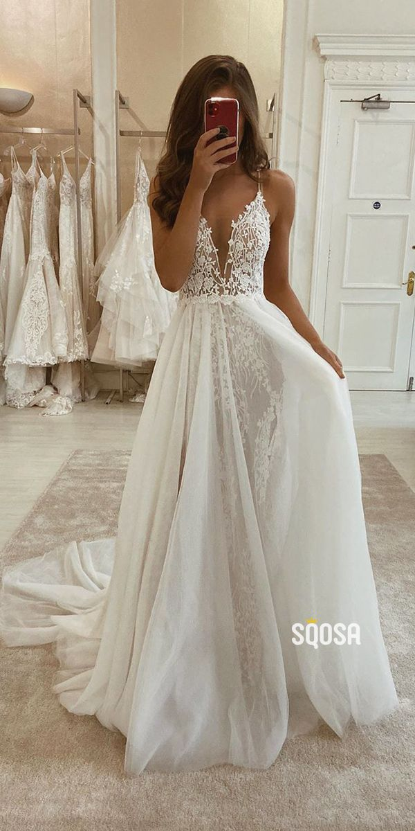 A-line V-neck Spaghetti Straps Lace Bohemian Wedding Dress Rustic Bridal Gowns QW2097 4