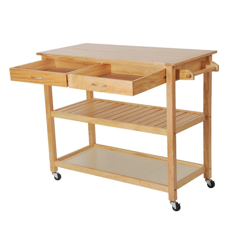 Amazon com homcom 45 wood kitchen utility trolley island cart kitchen islands carts
