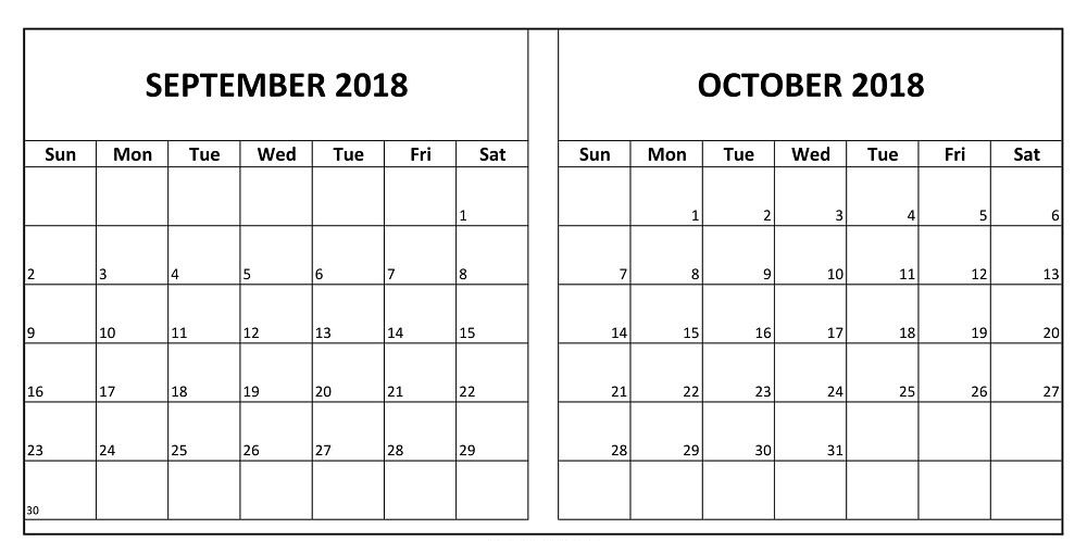 graphic about Oct Calendar Printable Pdf identified as Calendar September Oct 2018 Printable September 2018