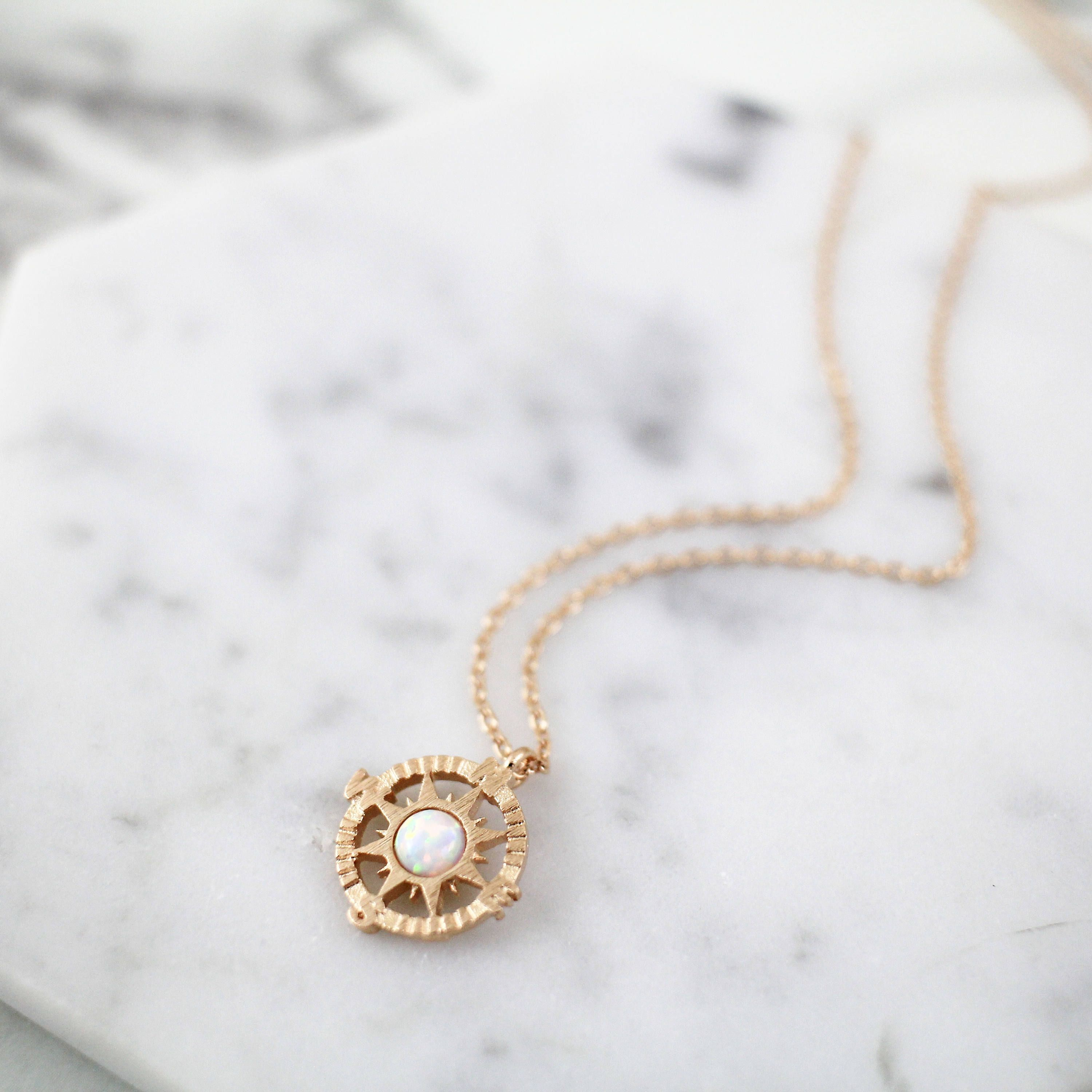 Rose gold compass with opal stone charm necklace rose gold necklace