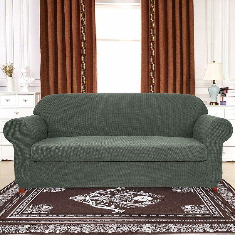 Winston Porter Plaid Stretch Box Cushion Sofa Slipcover Reviews Wayfair Cushions On Sofa Slipcovered Sofa Loveseat Slipcovers