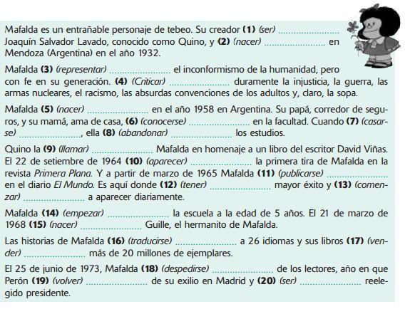 Pretérito Indefinido Con Mafalda Atividades Em Espanhol Espanhol Aulas
