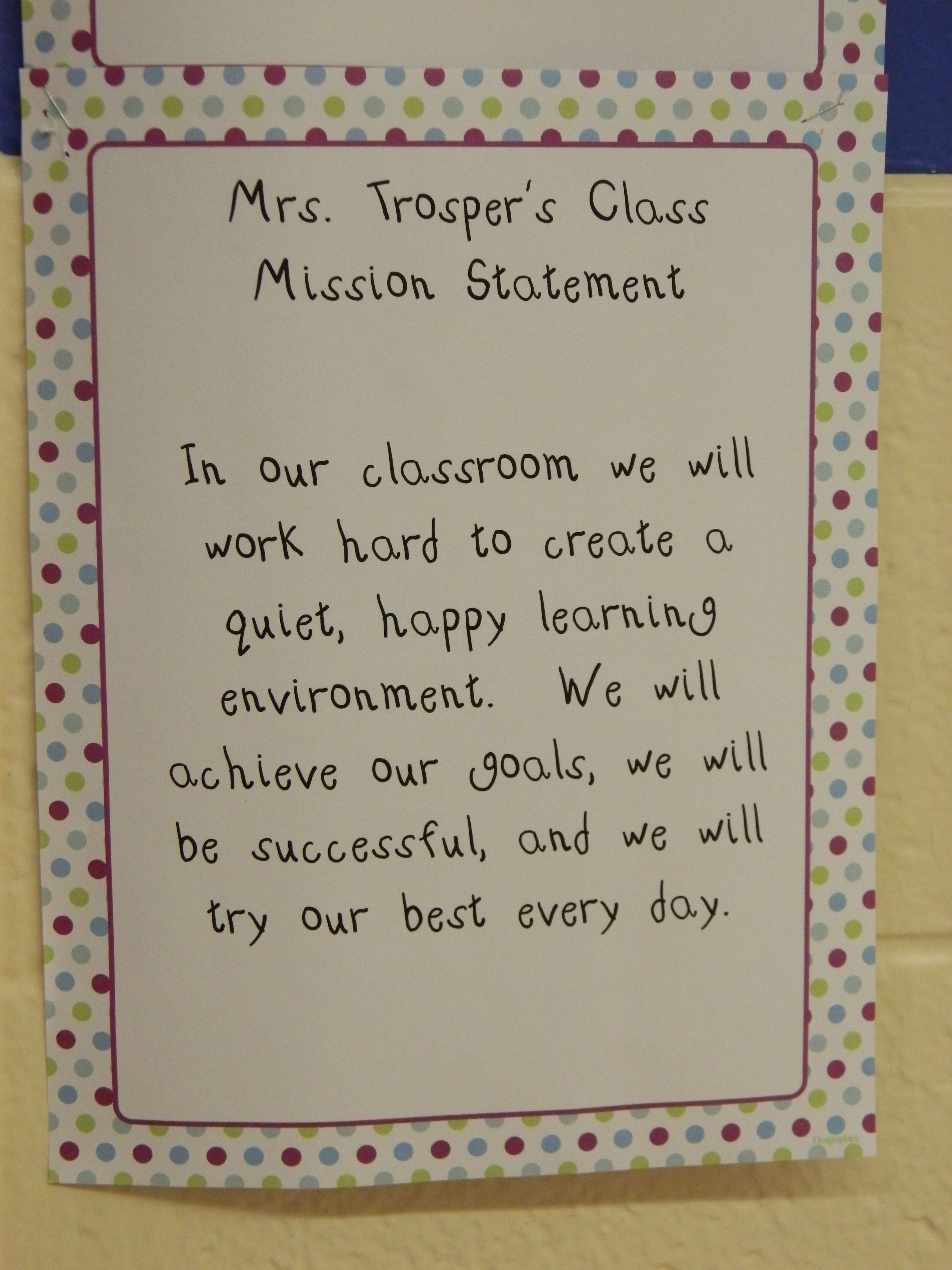 Third Grade Classroom Mission Statement With Images Classroom