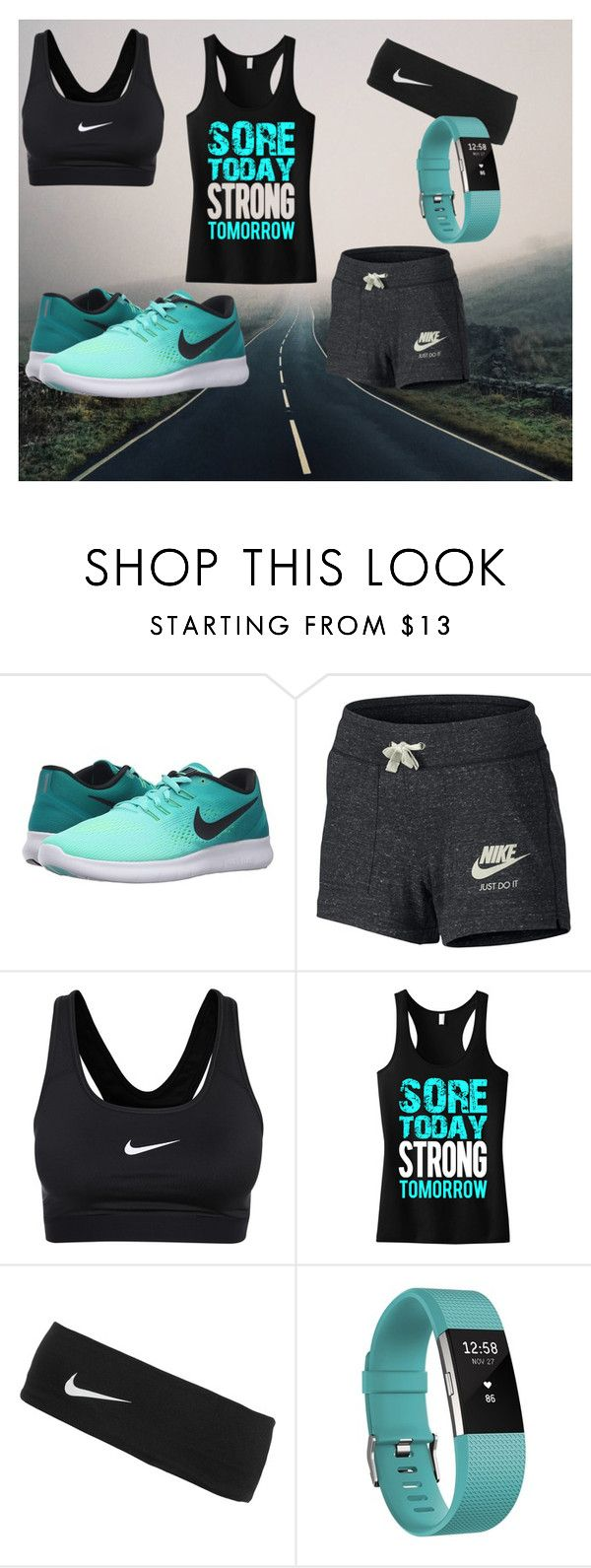 """""""Strong"""" by fallenangel0221 ❤ liked on Polyvore featuring NIKE and Fitbit"""