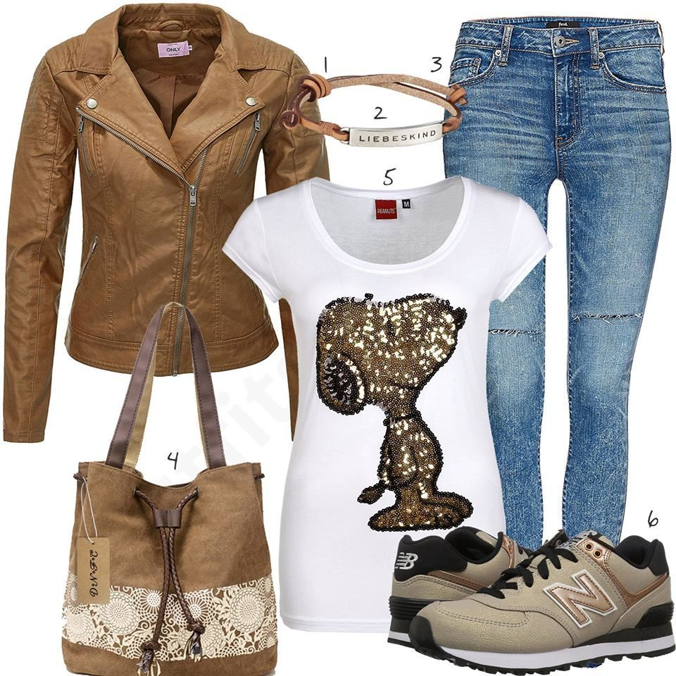 Shirt Und Mit Style Snoopy Damen T Lederjackew1036 uKJlF1cT35