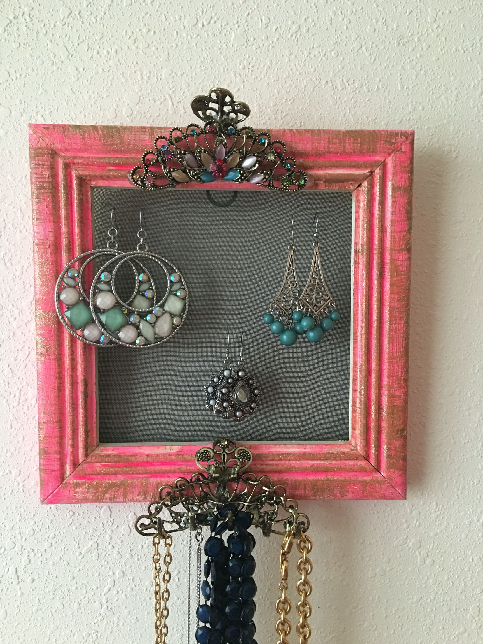 Diy Jewelry Organizer Made Of Old Clock Frame And Hair