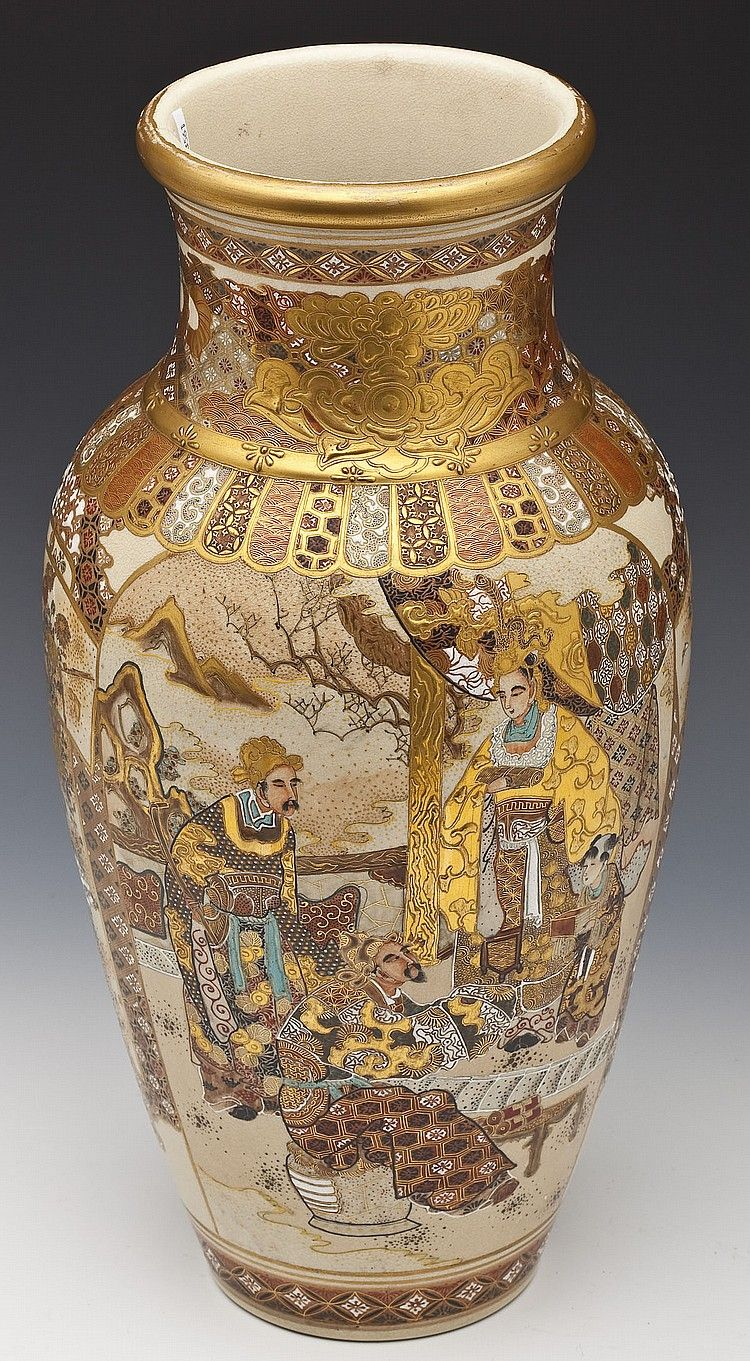 Buy Online View Images And See Past Prices For Large Japanese Satsuma Vase Invaluable Is The World S Largest Marketpla Satsuma Vase Japanese Ceramics Satsuma
