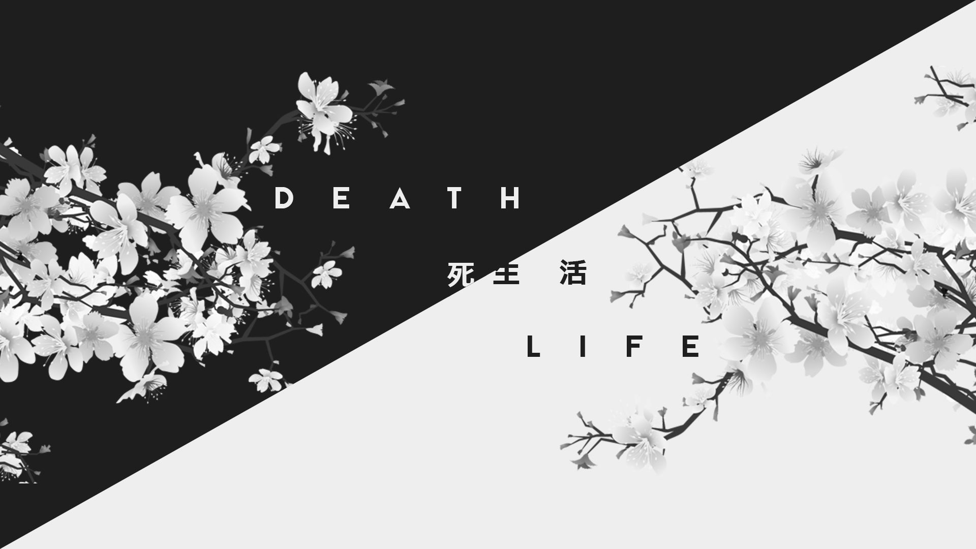 General 1920x1080 dark white life death kanji Japan