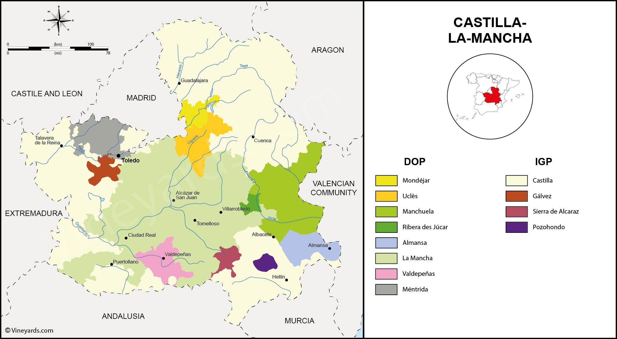 Map Of Spain La Mancha.Map Of The Pdo And Pgi Vineyards And Wines Of Castilla La Mancha