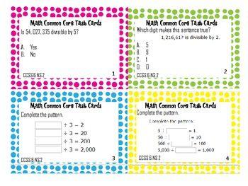 6th Grade Common Core Task Cards 6.NS.2