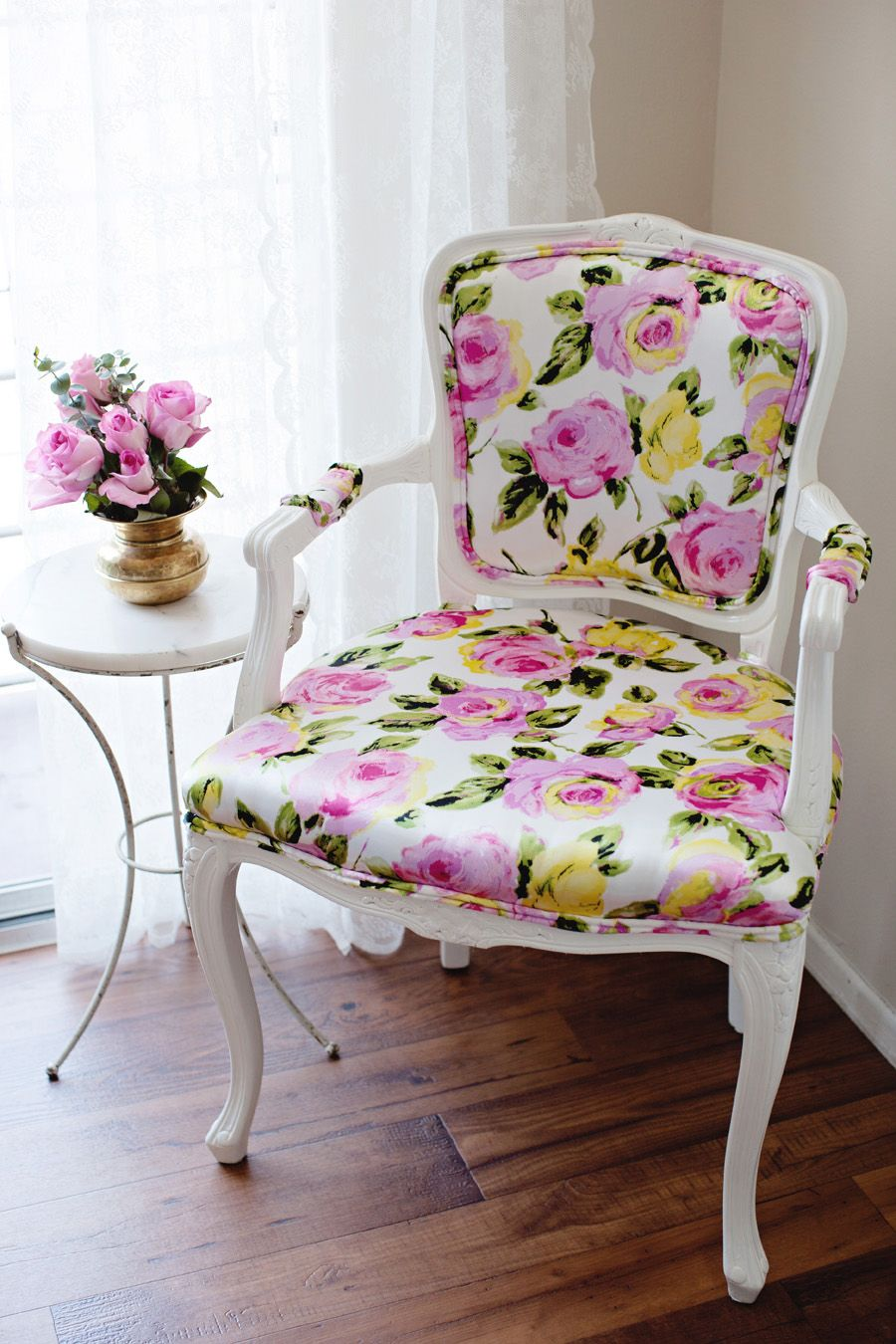Diy chair upholstery - Diy I Reupholstered Our Bergere Chair With Florals