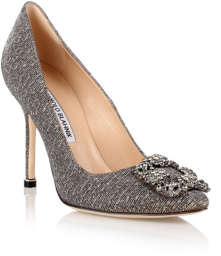 Manolo Blahnik Hangisi gold glitter pump #shoes