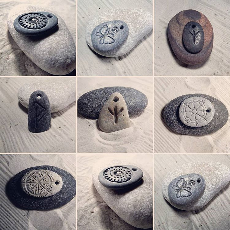 Hand engraved pendants ❤ Create your own necklace with Baltic beach stone