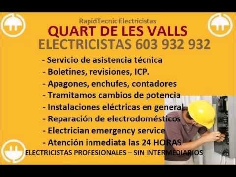 Electricistas QUART DE LES VALLS 603 932 932 Baratos