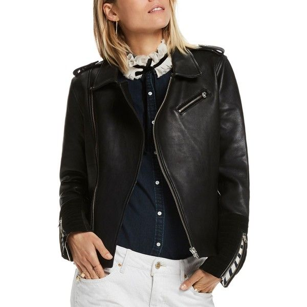 Scotch & Soda Leather & Suede Biker Jacket ($535) ❤ liked on Polyvore featuring outerwear, jackets, black, genuine leather biker jacket, real leather jackets, rider leather jacket, genuine leather jackets and striped leather jacket