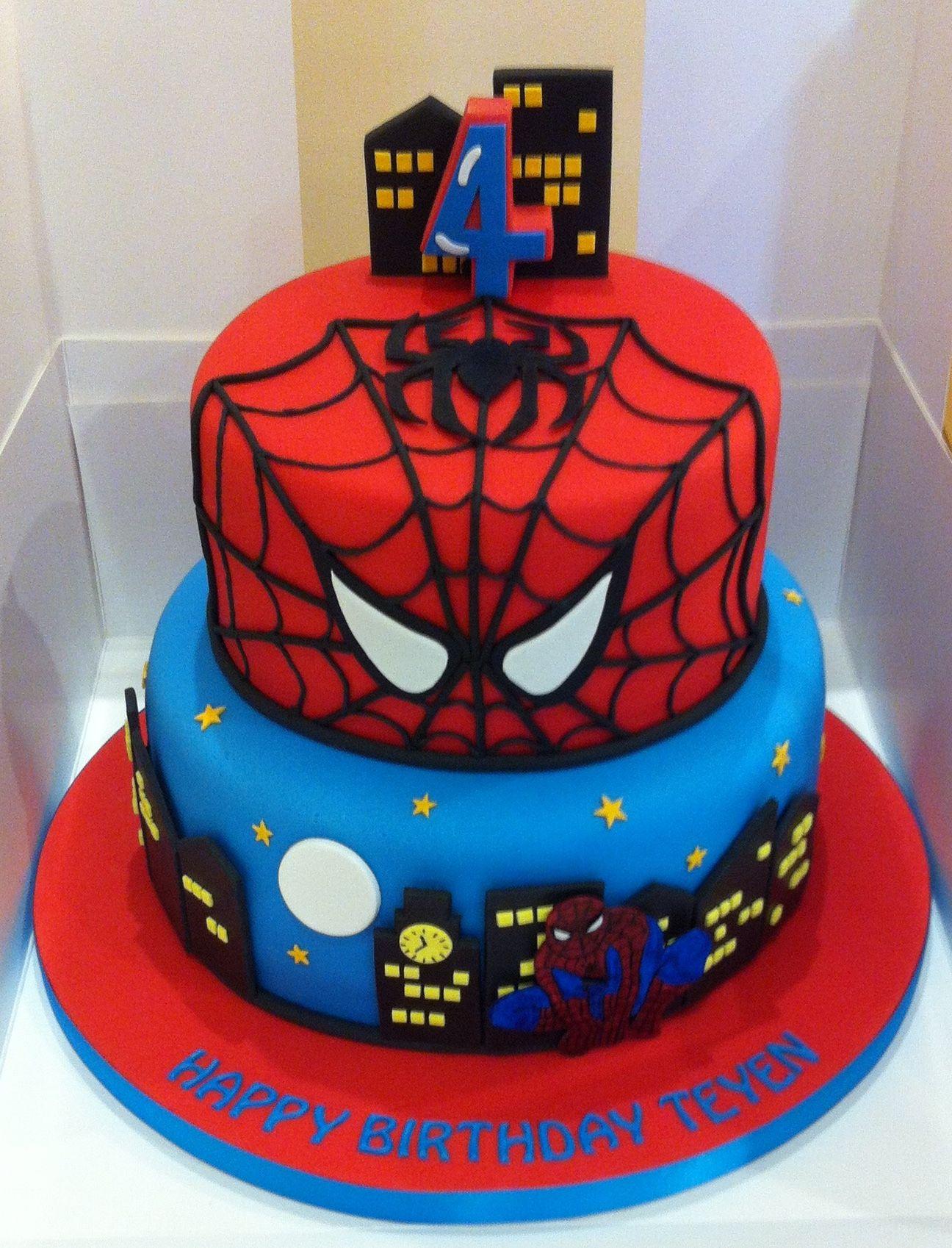 Spider Man Cake Party En 2019 Spiderman Birthday Cake Birthday