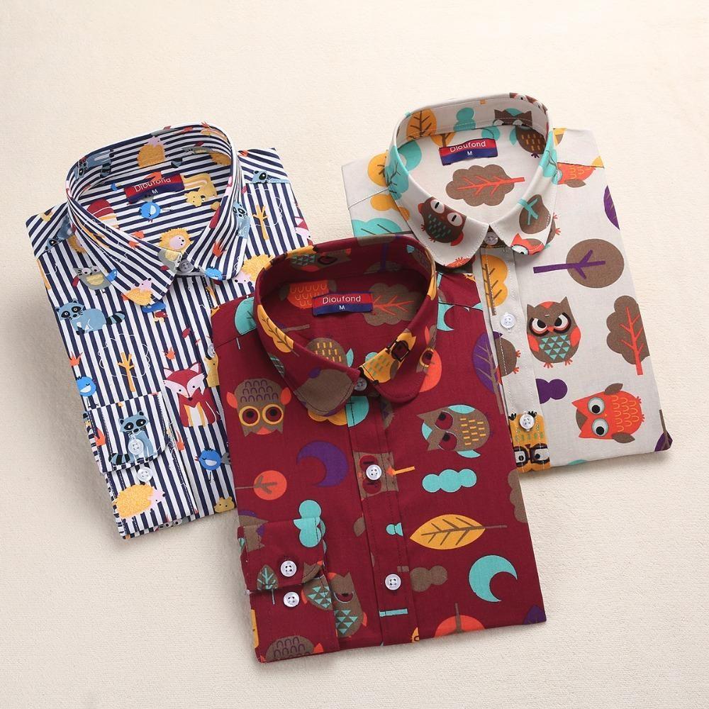 52f87c5cd68 Dioufond 2018 Animal Print Shirts Women Cotton Blouses Floral Ladies Tops  Long Sleeve Female Clothes Plus Size 5XL School Shirt