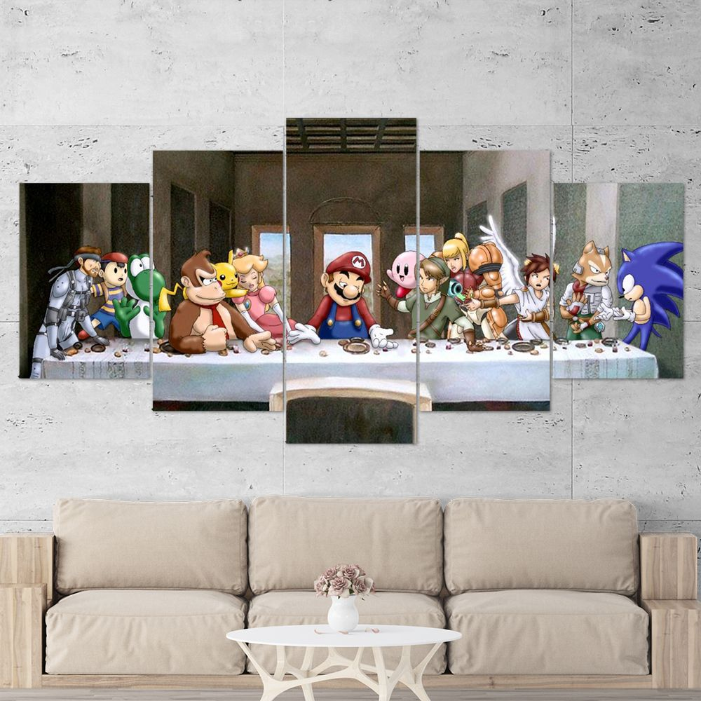 Super Mario Canvas The Last Supper Of Arcade Games 5 Piece Canvas Wall Art Gaming Canvas Wall Canvas Gaming Wall Art 5 Piece Canvas Art