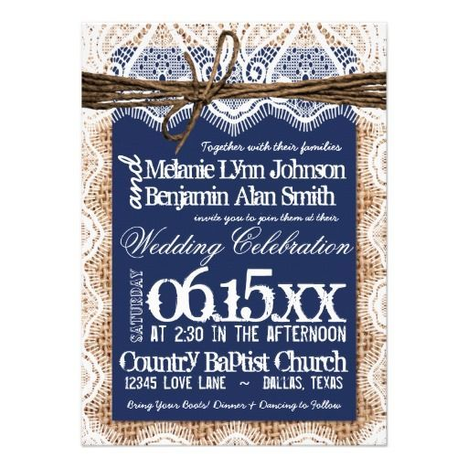 navy blue and silver, lace and burlap wedding   Rustic Country Navy Blue Printed Burlap and Lace Design Wedding ...