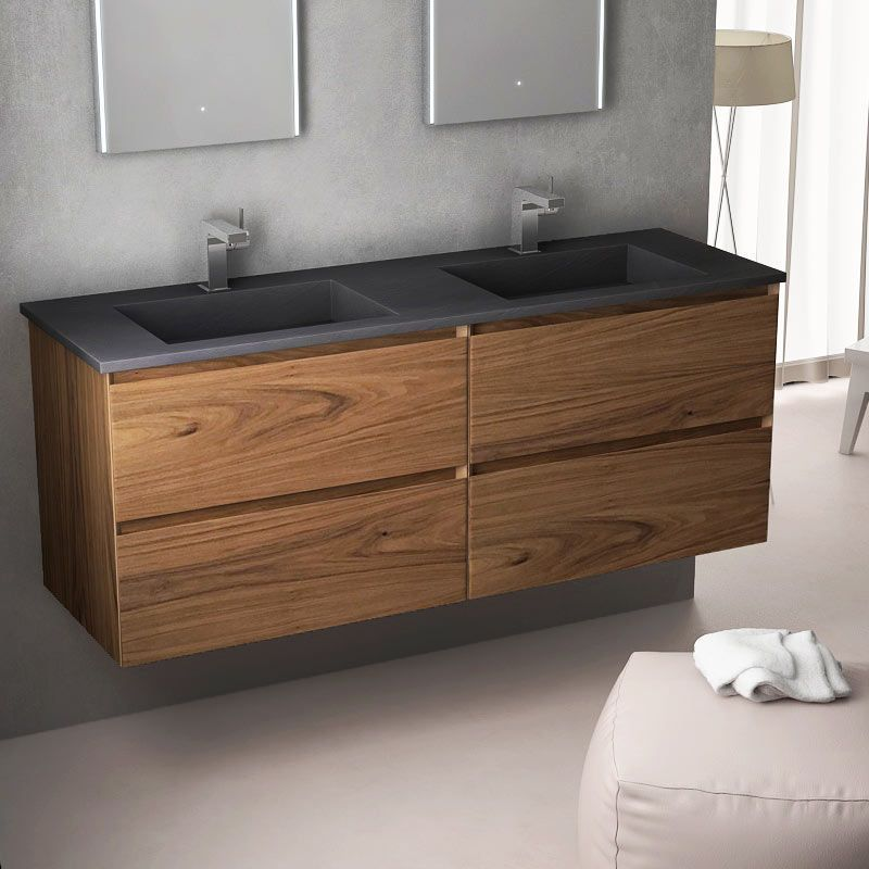 cordoue meuble salle de bain noyer 141 cm double vasque pierre - Double Vasque En Pierre