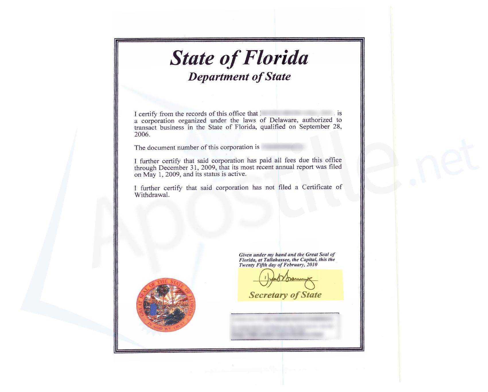 State Of Florida Certificate Of Good Standing State Of Florida