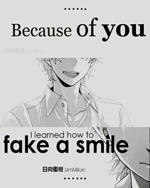Because Of You I Learned How To Fake A Smile Sad Text Anime Boy Crying