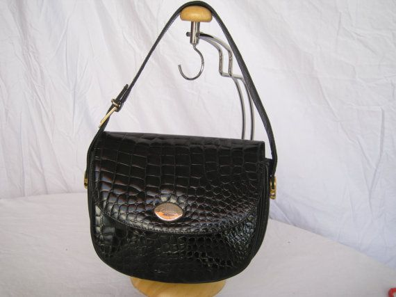 Vintage Rare Caggiano Black Calfskin Leather Small Bag