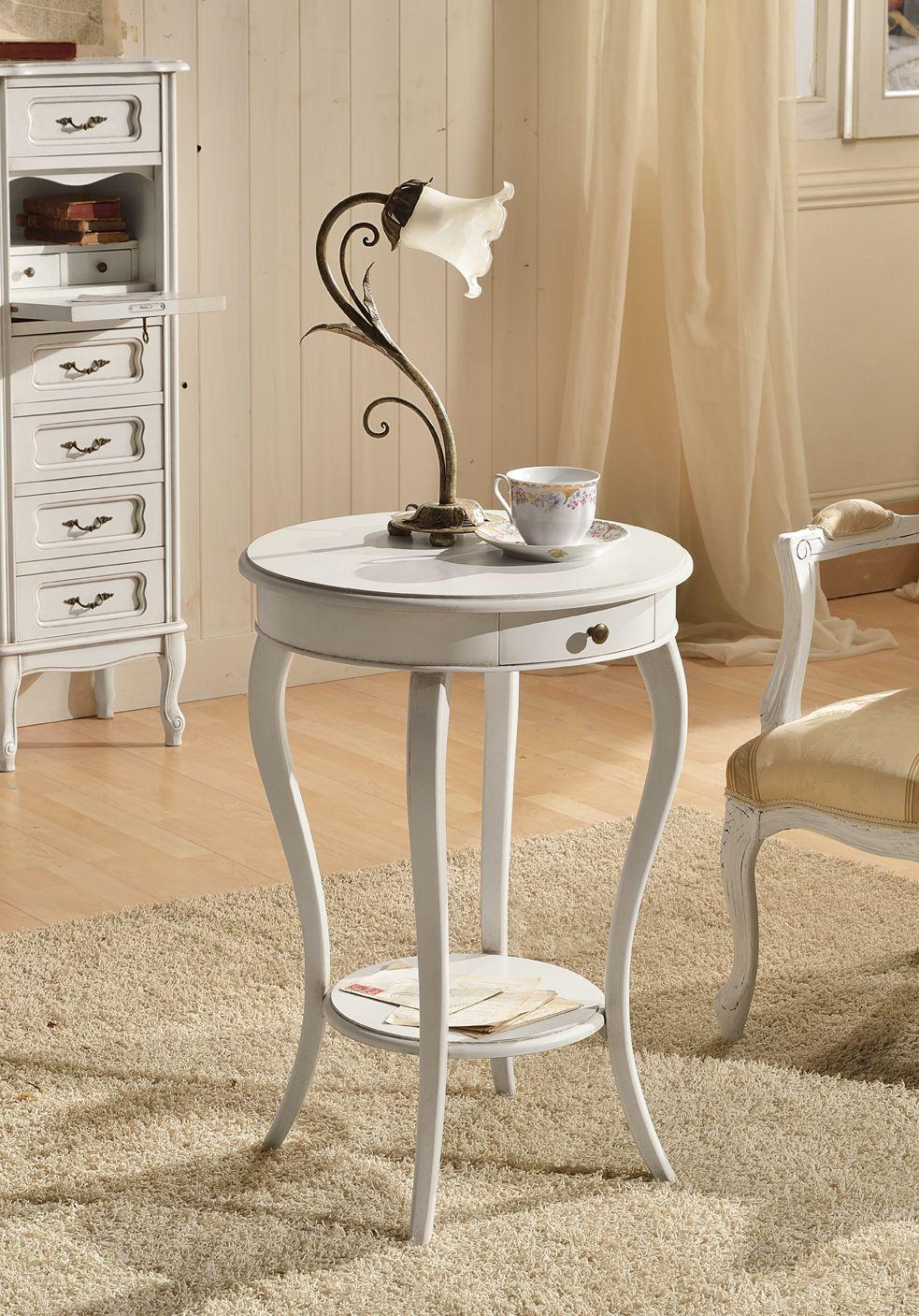 tavolino shabby con maniglia in metallo, color bianco antico | B&b ...