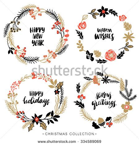Christmas greeting wreaths with calligraphy. Handwritten modern ...